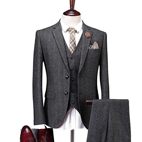 Yunjia Solid Charcoal Classic Vintage Tweed Herringbone Wool Blend Tailored Men Suit 3 Pieces