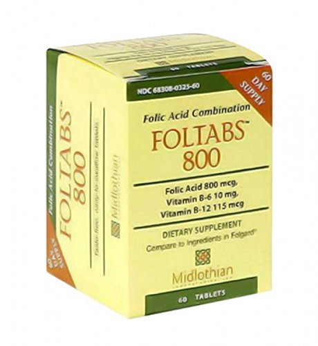 Foltabs 800, Tablet, 0.115-10-0.8mg, 60 Count (2 Pack)