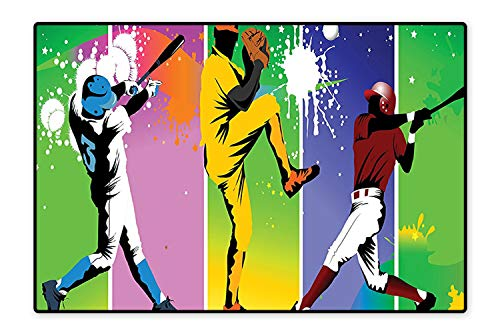 - Area Rug Players in Different Positions in Playground Action Based Catcher Pitcher Modern Sports Print Modern Watercolor Multicolor 6'x7'