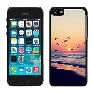 iPhone 5C Beach Sunset Scene Black Screen Phone Case Charming and Nice Design