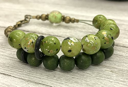 - Olive Abacus Row Counter Bracelet