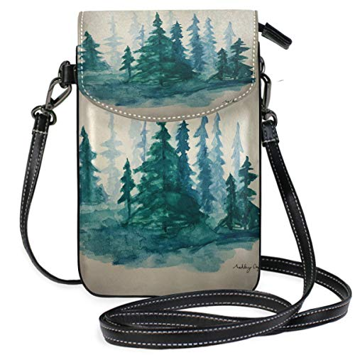 Watercolor Conifer Small Crossbody Bag Cellphone Wallet Womens Mini Leather Shoulder Bags