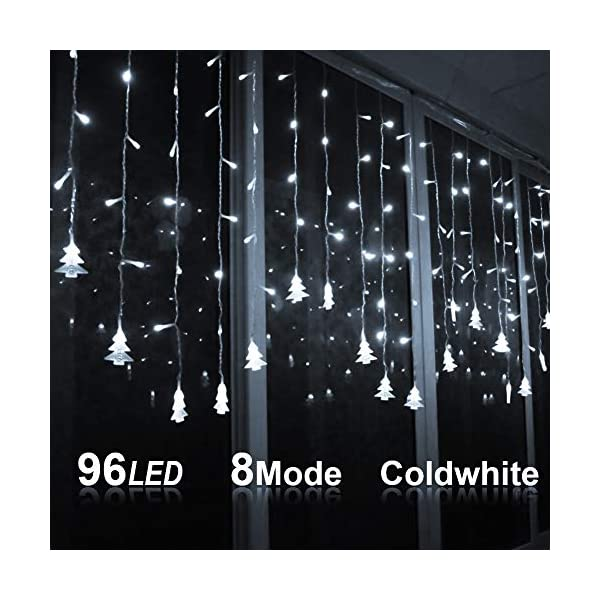 Klighten Catena Luminosa, Strisce LED, 96er Led Luci 3.5 * 0.65m Luci Stringa Bianco Freddo 8 Modalità Impermeabili IP44, per finestra, porta, giardino, feste, Natale 1 spesavip
