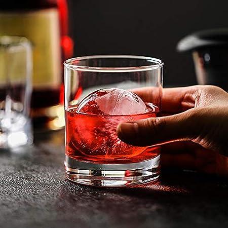 KUNMEI Molde De La Bola De Hielo, Molde De La Bola De Hielo De La Esfera Más Grande, La Caja De Hielo Redonda del Whisky con 4 Hoyos, El Cubo De Hielo Redondo del Molde para El Cóctel