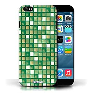 KOBALT? Protective Hard Back Phone Case / Cover for Apple iPhone 6/6S | Green/Brown Design | Bath Tile Pattern Collection