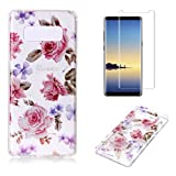 For Samsung Galaxy Note 8 Case with Screen Protector,OYIME Glitter Slim Fit Clear Silicone TPU Anti-Scratch Drop Proof Resistant Rubber Protective Back Cover (Rose)