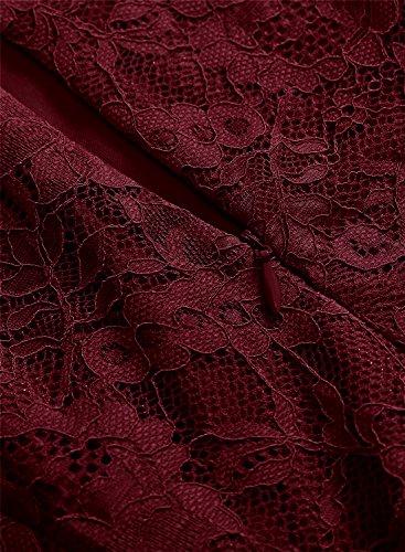 Cocktail Damen Spitzen Kleid MUADRESS Weinrot Vintage Knielang Stil Cape aus Brautjungfernkleid fF0xqwH