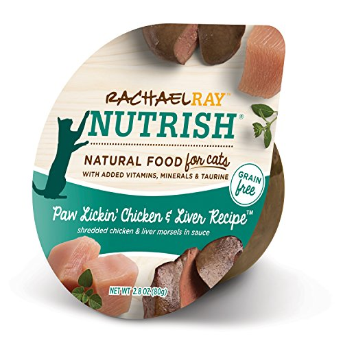 Rachael Ray Nutrish Natural Wet Cat Food, Paw Lickin' Chicken & Liver, Grain Free, 2.8 oz tub