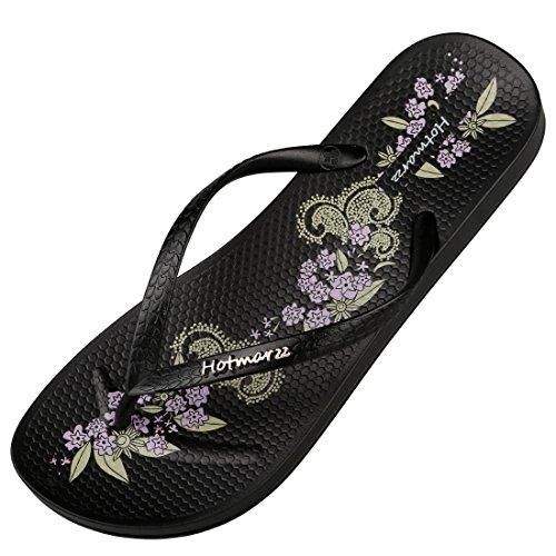 Floral Mujer suela cóncavo Chanclas diapositivas Ducha Slim playa Pattern sandalias de hotmarzz Black Zapatillas PnFxfwxq