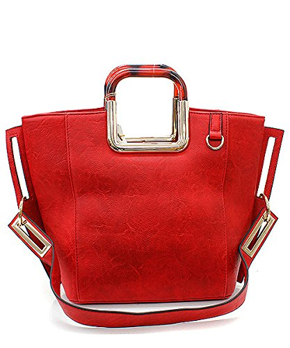 Solid Color Faux Leather Fashion Bucket Tote Handbag with Shoulder Strap (Red) (Wholesale Coach Inspired Handbags)