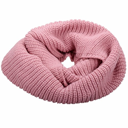 NEOSAN Womens Thick Ribbed Knit Winter Infinity Circle Loop Scarf Pink