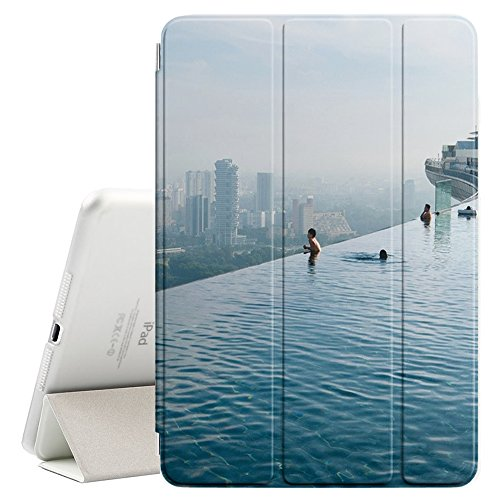 (Graphic4You Singapore Skyline Hotel Pool Postcard Design Ultra Slim Case Smart Cover Stand [with Sleep/Wake Function] for Apple iPad Mini 5)