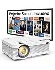 Proyector QKK [con Pantalla Proyector], Mini Proyector 3600 Lumens, Video Proyector Soporta 1080P Full HD, Compatible con HDMI VGA AV SD USB Dispositivos, Proyector Cine en Casa, Blanco.