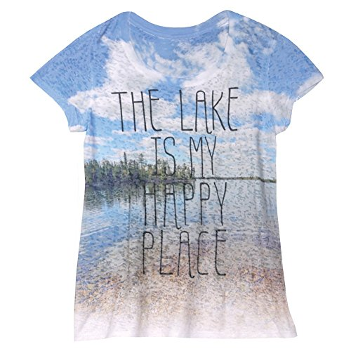 Women's T-Shirt - The Lake is My Happy Place Short Sleeve Burnout Tee - Medium