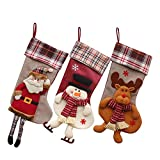 "JUN-Q® (3 Pack) Classic Christmas Stockings 18"" Cute Santa's Toys Stockings Plush 3D Applique Style Felt Christmas Stockings, Detailed Designs, Embroidered Edges, Hanging Loops"
