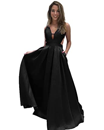 Fanciest Womens Deep V Neck Satin Prom Dresses Long 2018 Formal Evening Dress Black US2