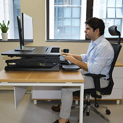 """Electric Height Adjustable Standing Desk Converter with 36"""" Wide Office Tabletop Workstation, Sit to Stand up Computer Platform Monitor Riser"""