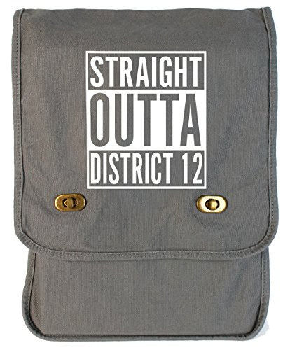 Tenacitee Straight Outta District 12 Smoke Grey Canvas Field Bag