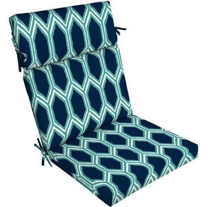 Amazon Com Mainstays Outdoor Patio Chair Cushion Geometric Blue