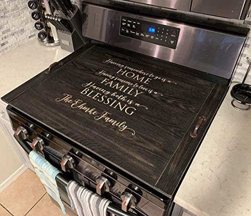 Farmhouse Rustic Wooden Noodle Board Stove top Cover Personalized Last Name Home Decor ()