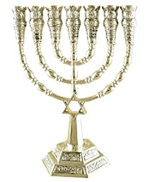 Silver Color Star of David 7 Branch Temple Menorah Height: 9.4\