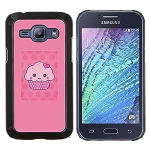EJOOY---Cubierta de la caja de protección para la piel dura ** Samsung Galaxy J1 J100 ** --de dibujos animados de la magdalena del mollete de color rosa de lunares