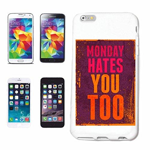 """cas de téléphone iPhone 7+ Plus """"Lundi DÉTESTE VOUS AUSSI VINTAGE LIFESTYLE FASHION GOTHIC BIKER STREETWEAR PARIS MILAN NEW YORK"""" Hard Case Cover Téléphone Covers Smart Cover pour Apple iPhone en blan"""