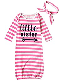 Newborn Baby Boys Girls Letters Print Sleep Gowns Striped Take Home Outfit