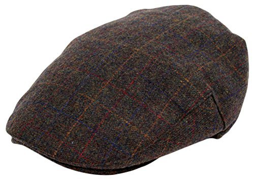 Men's Premium Wool Blend Classic Flat Ivy Newsboy Collection Hat , 1929-Brown, - Herringbone Lined Hat