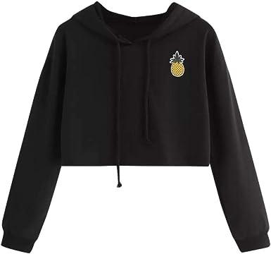 Beautyjourney Sweat Shirt Crop Top FemmeLong Hoodie Pull Sweatshirt Pulls Maille Fine Femme Sweat Shirt Supreme Sweats à Capuche Appliques Ananas