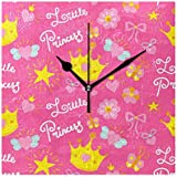 TaTaisu Wall Clocks Princess Pink Decor for Living Room Bedroom Bedside Office Standing