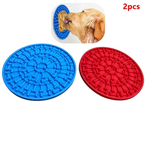 Minli 2pcs Dog Lick Pad, Absorbable Slow Feeders, Distraction Device ,Powerful Suction cups on the back,Training-Just…