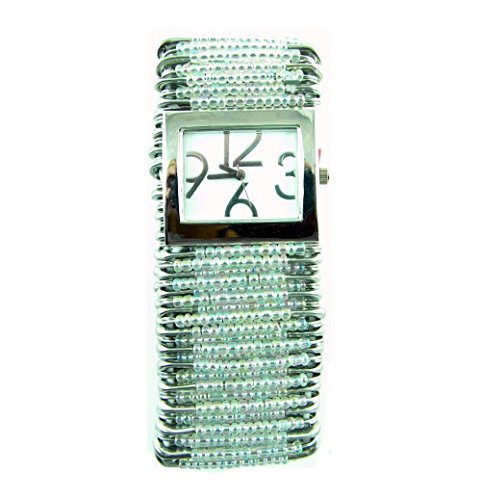 (PlanetZia Beautiful Safety Pin Stretch Watch with Clear Crystal AB Beads WT-CRSAB)