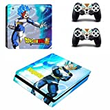 Cosines PS4 Slim Stickers Vinyl Decal Protective Console Skins Cover for Sony Playstation 4 Slim and 2 Controllers Dragon Ball Super Saiyan Vegeta Blue Hair God SS Hero Anime
