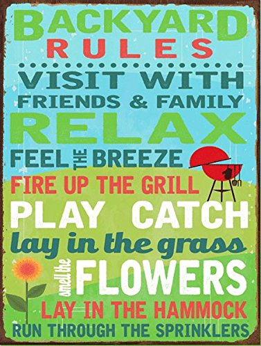 Sun Producted Backyard Rules Metal Sign - Summer Wall Decor