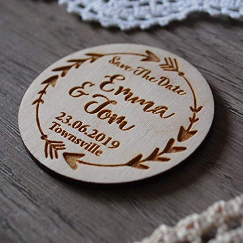 (PatyHoll 20Pcs Wooden Save The Date Magnets Wedding Invitations Rustic Dates Magnet Personalized)