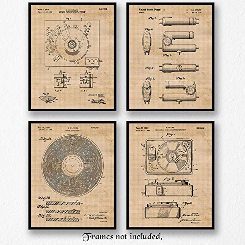 (Original Vinyl Record Player Patent Art Poster Prints - Set of 4 (Four 8x10) Unframed - Great Wall Art Decor Gift for Home, Office, Studio, Garage, Man Cave, Student, Teacher, Musician, DJ)
