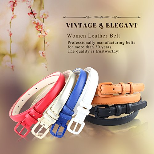 Bpstar Womens Skinny Leather Belt Solid Color with Pin Buckle Simple Waist Belts by Bpstar (Image #7)