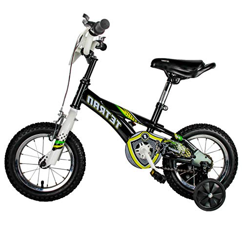 HAPTOO Toddler Bike for Girls with Training Wheels & Hand Brake for 3 4 5 Years Old, Kid Bicycle, Black ...