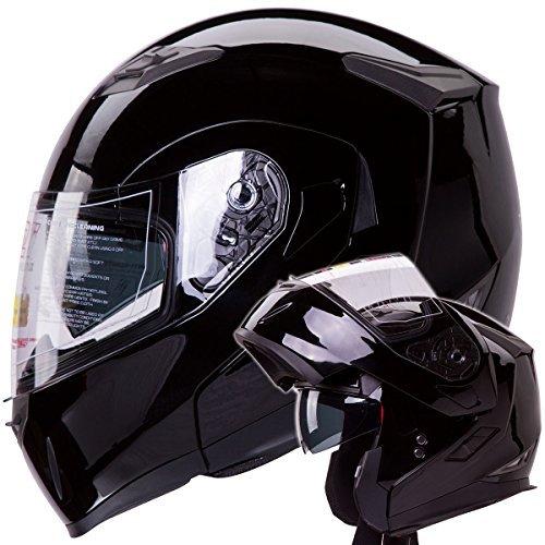 Dual Visor Modular Flip up Gloss Black Motorcycle Snowmobile Helmet DOT (S)...