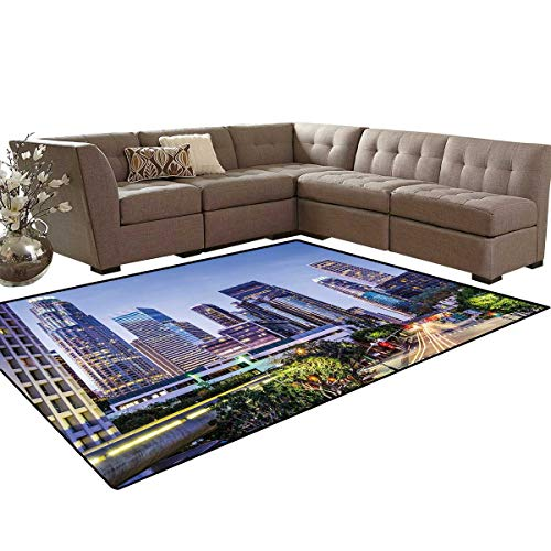 City Bath Mat 3D Digital Printing Mat Los Angles California Skyline Urban USA Cityscape Skyscrapers Highway Avenue Trees Extra Large Area Rug 6'6