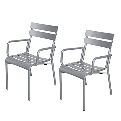 amazon com dporticus outdoor aluminum chairs with slat back and