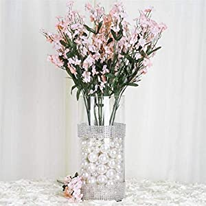 Tableclothsfactory 12 Bushes Baby Breath Artificial Filler Flowers for DIY Wedding Bouquets Centerpieces Party Home Decoration - Blush 85