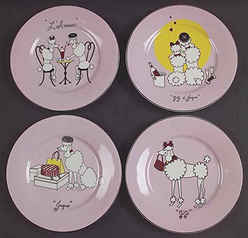 American Atelier Pink Poodle Set of 4 Salad Appetizer Snack