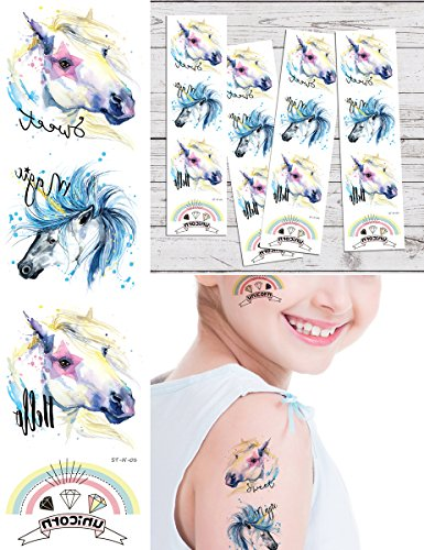 Supperb Temporary Tattoos - Beautiful Unicorn Tattoos Tattoos (Set of 4) Birthday Party Supplies Party Favors by Supperb