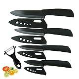 Topfox Kitchen Cutlery Ceramic Knife Set With Sheaths in Gift Box (Black)
