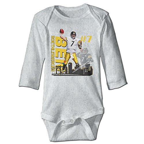 Price comparison product image Bro-Custom Ben #7 Roethlisberger For 6-24 Months Infant Romper Outfits 12 Months Ash
