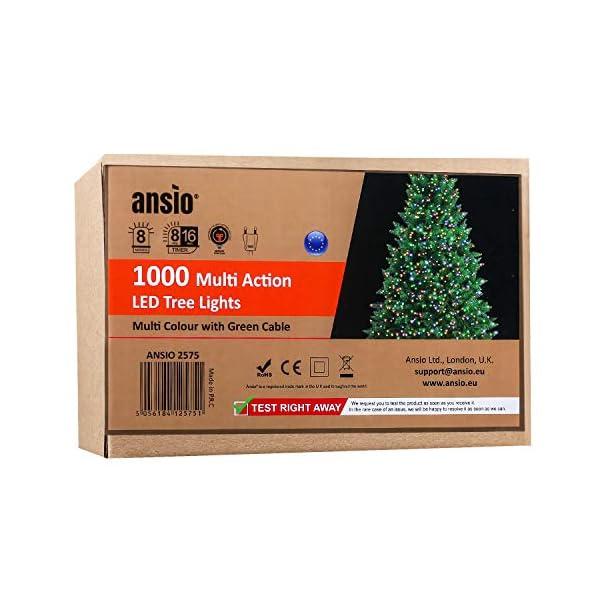 ANSIO Luci natalizie per interni e esterno 1000 LED albero luci Multi Colore, 8 modalità con memoria e funzione timer, alimentate, trasformatore incluso 25m Lunghezza illuminata- CAVO VERDE 2 spesavip