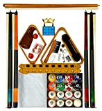 Pool Table Accessory Kit W Classic Marble Style Balls Oak Finish