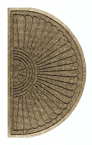 M+A Matting 2246 Waterhog Eco Grand Premier PET Polyester Fiber Half Oval Entrance Indoor/Outdoor Floor Mat, SBR Rubber Backing, 3.3' Length x 6' Width, 3/8